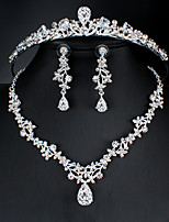 cheap -Women's White AAA Cubic Zirconia Hoop Earrings Pendant Necklace Necklace Hollow Out Drop Feather Pear Basic European Korean Sweet Cute Imitation Diamond Earrings Jewelry Silver For Wedding Party