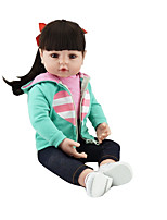 cheap -NPKCOLLECTION 20 inch Reborn Doll Baby Baby Girl Country Girl lifelike Cute Artificial Implantation Brown Eyes Oxford Cloth Cloth 3/4 Silicone Limbs and Cotton Filled Body with Clothes and Accessories