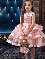 cheap -Kids Girls' Solid Colored Sleeveless Knee-length Dress Blushing Pink