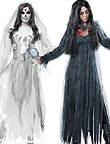 cheap -Zombie Ghostly Bride Dress Cosplay Costume Adults' Men's Cosplay Halloween Halloween Festival / Holiday Polyester Cotton Black / White Men's Women's Carnival Costumes