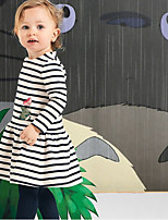 cheap -Toddler Girls' Striped Long Sleeve Above Knee Dress White