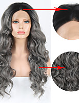 cheap -Synthetic Lace Front Wig Body Wave Middle Part Lace Front Wig Long Black / Grey Synthetic Hair 18-24 inch Women's Heat Resistant Synthetic Easy dressing Gray Ombre / Natural Hairline