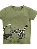 abordables -Enfants Garçon Basique Animal Manches Courtes Tee-shirts Vert Claire