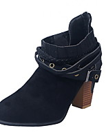 cheap -Women's Boots Chunky Heel Round Toe Suede Booties / Ankle Boots Fall & Winter Black / Wine / Almond