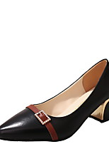 abordables -Femme Chaussures à Talons Talon Bottier Bout rond Polyuréthane Hiver Noir / Blanche / Beige