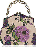 cheap -Women's Chain Linen Evening Bag Plants Black / Purple / Green