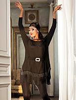 abordables -Danse latine Robes Femme Utilisation Fibre de Lait Gland Manches Longues Robe