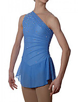 cheap -Figure Skating Dress Women's Girls' Ice Skating Dress Blue Spandex High Elasticity Training Competition Skating Wear Handmade Patchwork Crystal / Rhinestone Sleeveless Ice Skating Figure Skating