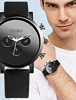 cheap -Men's Sport Watch Quartz PU Leather Black / Brown No Calendar / date / day Chronograph Cute Analog New Arrival Fashion - Black Brown Black / White One Year Battery Life