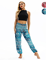 cheap -Women's Yoga Pants Harem Smocked Waist Print Red Blue Dance Fitness Gym Workout Bloomers Sport Activewear Lightweight Breathable Quick Dry Soft Stretchy Loose