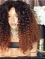 abordables -Perruque Synthétique Afro Kinky Coupe Asymétrique Perruque Longueur moyenne Ombre Brown Cheveux Synthétiques 16 pouce Femme Meilleure qualité Marron