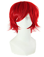 cheap -Synthetic Wig Curly Asymmetrical Wig Short Red Synthetic Hair 11 inch Men's Best Quality Red