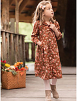 cheap -Kids Girls' Floral Dress Orange