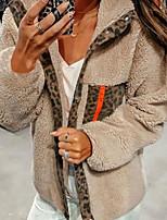 cheap -Women's Daily Fall & Winter Regular Coat, Leopard V Neck Long Sleeve Polyester Beige / Gray