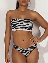 cheap -Women's Basic Black Bandeau Cheeky Briefs Bikini Swimwear - Geometric Animal Lace Backless Print S M L Black