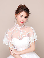 cheap -Short Sleeve Polyester / Lace / Tulle Wedding Women's Wrap With Lace / Tassel Capelets