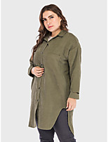 cheap -Women's Daily Basic Fall & Winter Long Trench Coat, Solid Colored Turndown Long Sleeve Polyester Army Green / Navy Blue
