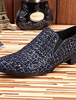 cheap -Men's Leather Shoes Nappa Leather Spring & Summer / Fall & Winter Casual / British Loafers & Slip-Ons Non-slipping Black / Blue / Party & Evening