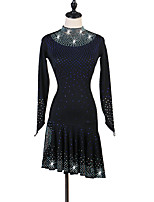 cheap -Latin Dance Dresses Women's Training / Performance Spandex Crystals / Rhinestones Long Sleeve High Dress