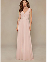 cheap -A-Line Plunging Neck Floor Length Chiffon Elegant Engagement / Formal Evening Dress 2020 with Appliques / Ruched / Pleats