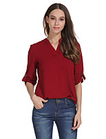 cheap -Women's Going out Weekend Elegant T-shirt - Solid Colored Cut Out Black