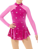 cheap -Figure Skating Dress Women's Girls' Ice Skating Dress Fuchsia Spandex High Elasticity Training Competition Skating Wear Handmade Patchwork Crystal / Rhinestone Long Sleeve Ice Skating Figure Skating