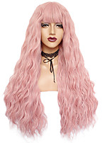 cheap -Synthetic Wig Curly Weave Neat Bang Wig Long Black#1B Brown Pink White Blue / Green / Blonde Synthetic Hair 24inch Women's Odor Free Adjustable Heat Resistant Black Blue White / Natural Hairline