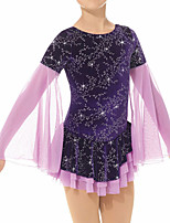 cheap -Figure Skating Dress Women's Girls' Ice Skating Dress Purple Patchwork Spandex High Elasticity Training Competition Skating Wear Handmade Patchwork Crystal / Rhinestone Long Sleeve Ice Skating Figure