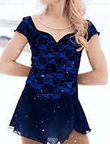 abordables -Robe de Patinage Artistique Femme Fille Patinage Robes Bleu de minuit Spandex Haute élasticité Entraînement Compétition Tenue de Patinage Fait à la main Mosaïque Cristal / Stras Manches Courtes