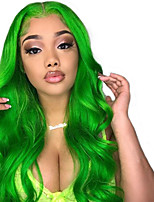 cheap -Synthetic Lace Front Wig Wavy Middle Part Lace Front Wig Long Green Synthetic Hair 18-26 inch Women's Adjustable Heat Resistant Party Green
