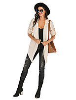 cheap -Women's Daily Spring &  Fall / Fall & Winter Long Trench Coat, Solid Colored Turndown Long Sleeve Polyester Royal Blue / Beige