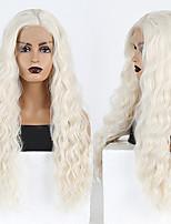 abordables -Perruque Lace Front Synthétique Bouclé Ondulé Partie médiane Lace Frontale Perruque Long Blond platine Cheveux Synthétiques 18-26 pouce Femme Cosplay Doux Ajustable Blond