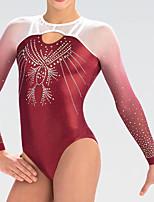 cheap -Rhythmic Gymnastics Leotards Artistic Gymnastics Leotards Women's Girls' Leotard Burgundy Spandex High Elasticity Handmade Jeweled Diamond Look Long Sleeve Competition Dance Rhythmic Gymnastics