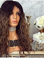 cheap -Synthetic Wig Curly kinky Straight Asymmetrical Wig Long Ombre Brown Synthetic Hair 27 inch Women's Best Quality Black Brown