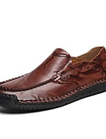 cheap -Men's Moccasin Cowhide Fall & Winter Loafers & Slip-Ons Dark Brown