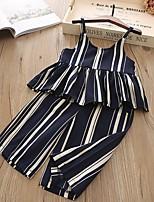 cheap -Kids Girls' Basic Striped Sleeveless Clothing Set Navy Blue