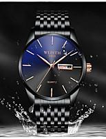 cheap -WLISTH Men's Steel Band Watches Quartz Water Resistant / Waterproof Calendar / date / day Stopwatch Analog - Digital Luxury Fashion - Black Golden+Black Black / White