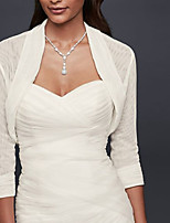 cheap -3/4 Length Sleeve Charmeuse Wedding Women's Wrap With Ruching Shrugs