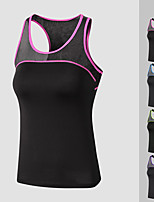 cheap -Women's Yoga Top Patchwork Fashion Purple Fuchsia Black / Green Black / Blue Mesh Running Fitness Gym Workout Vest / Gilet Sleeveless Sport Activewear Lightweight Quick Dry Comfortable Stretchy
