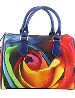 cheap -Women's Pattern / Print Canvas Top Handle Bag Floral Print Rainbow