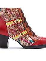 cheap -Women's Boots Chunky Heel Round Toe PU Booties / Ankle Boots Fall & Winter Red