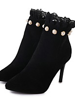 cheap -Women's Boots Stiletto Heel Pointed Toe Suede Booties / Ankle Boots Winter Black