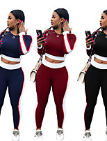 cheap -Women's Side-Stripe 2-Piece Tracksuit Sweatsuit 2pcs Pullover Running Fitness Jogging Sportswear Windproof Breathable Soft Athletic Clothing Set Long Sleeve Activewear Micro-elastic Regular Fit
