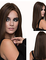 cheap -Synthetic Wig Straight kinky Straight Asymmetrical Wig Medium Length Brown Synthetic Hair 16 inch Women's Best Quality Brown