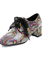 cheap -Women's Heels Chunky Heel Square Toe PU Preppy / Minimalism Spring &  Fall Black / Orange / Green / Color Block