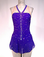 cheap -Figure Skating Dress Women's Girls' Ice Skating Dress Purple Spandex High Elasticity Training Competition Skating Wear Handmade Patchwork Crystal / Rhinestone Sleeveless Ice Skating Figure Skating