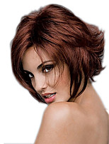 cheap -Synthetic Wig Curly Asymmetrical Wig Short Burgundy Synthetic Hair 11 inch Women's Best Quality Burgundy