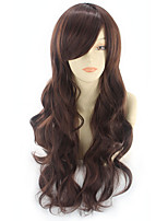 cheap -Synthetic Wig Curly Asymmetrical Wig Long Light Brown Synthetic Hair 27 inch Women's Best Quality Black