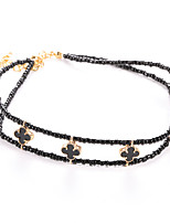 cheap -Women's Torque Necklace Braided Clover Classic Korean Chrome Black 26+12 cm Necklace Jewelry 1pc For Daily Festival