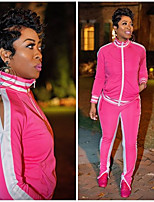 cheap -Women's Side-Stripe 2-Piece Tracksuit Sweatsuit 2pcs Running Fitness Jogging Sportswear Windproof Breathable Soft Athletic Clothing Set Long Sleeve Activewear Micro-elastic Regular Fit / Full Zip